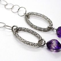 SILVER 925 NECKLACE, FLUORITE FACETED PURPLE, HEART WITH FLOWERS, 70 CM image 5