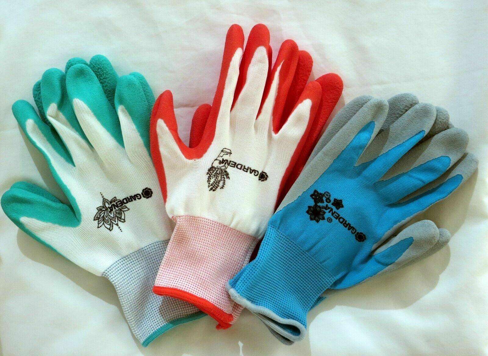 3 Pairs Gardena Gardening Yard Gloves Nitrile Dipped Anti-Slip Knit Wrist