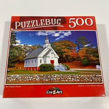 New Puzzlebug 500 Piece Jigsaw Puzzle Colorful New England Church Travel... - $10.44