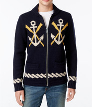 Mens Tommy Hilfiger Full Zip NAVAL-THEMED Lambswool Blend Sweater Cardigan $299 - $119.99