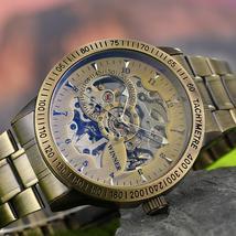 Winner Watch Men Skeleton Automatic Mechanical Watch Gold Skeleton Vinta... - $65.99+