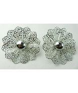 Vintage Large Clip On Earrings SAC Sarah Coventry Filigree Flower Silver... - $15.00