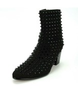 New Men's Fiesso Black Suede Spikes Pointed Toe Cowboy Boots w/ Zipper F... - $159.99