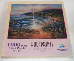 NEW SunsOut Footprints 1000 Piece Jigsaw Puzzle SEALED Lighthouse Ocean Bergeron - $26.07