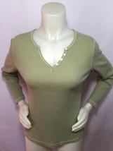 Thermal Shirt Long Sleeve Womens CARIBBEAN JOE Size M Light Green Cotton Blend - $19.60
