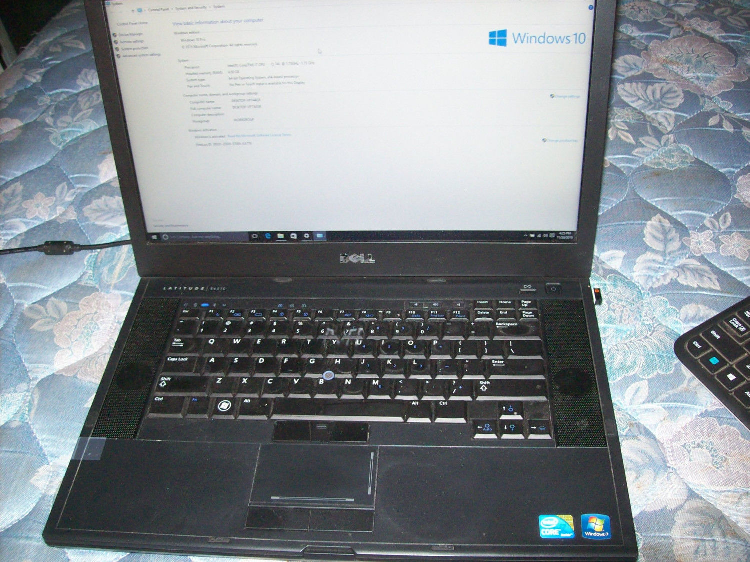 Dell Latitude E6510 Laptop i7 1.73 4GB RAM 500GB HD NVIDIA Win10 PRO 64 Bit
