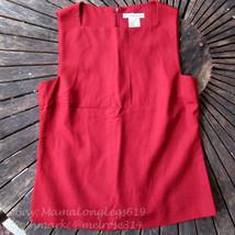 Vintage Michael Kors Italy Seta Silk Square Neck Sleeveless Blouse Top Sz 6 Red - $32.58