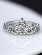 Silver Plated Crown Design Swarovski Elements with Adjustable Sterling Ring A389 - $24.74