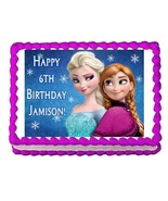 FROZEN ANNA AND ELSA edible party cake topper decoration frosting sheet ... - $7.80