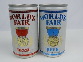 Pair (2) World's Fair empty beer cans Red & Blue Aluminum 12 oz. Bottom ... - $7.69