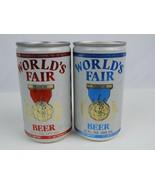 Pair (2) World's Fair empty beer cans Red & Blue Aluminum 12 oz. Bottom Open - $7.69