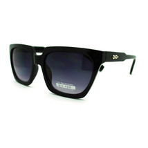 Geometric Squared High Temple Horn Rim Sunglasses with Thorn Studs - Black - $7.95