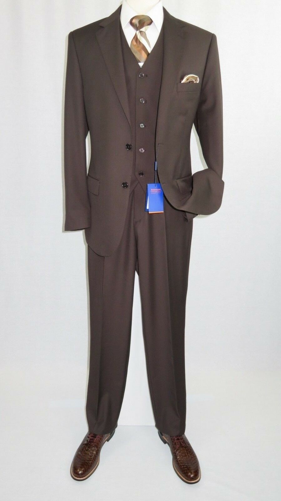 Primary image for Men BERRAGAMO 3pc Suit Vested Plain front Pants Side Vents Formal A6732 Brown