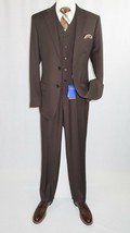 Men BERRAGAMO 3pc Suit Vested Plain front Pants Side Vents Formal A6732 ... - $119.96
