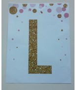 Andaz Press Nursery Wall Art Decor, Pink and Printed Gold Glitter, Letter L - $3.47