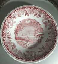 Vintage Spode Porcelain Bowl Dish Winter's Eve Red S3755-A8 Made in Engl... - $27.60