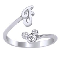 Disney Mickey Mouse Initial F Ring Round Cut Diamond White Gold Over 925 Silver - $24.99