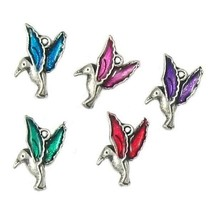 HUMMINGBIRD W/ COLORED WINGS FINE PEWTER PENDANT CHARM - 11x13x3mm image 1