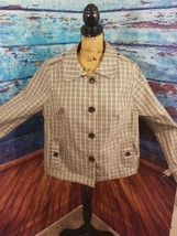 Merona womens jacket size XXL multicolor checkered overcoat 4 buttons - $20.90