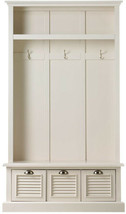 Entryway Hall Tree 74 in. H x 42 in. W 3-Hook Drawers Top Shelf Polar White - $773.91