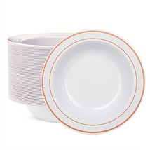WDF 60pcs Disposable Plastic Bowls-12 oz Soup Bowls - Rose Gold Trim Rea... - $22.32