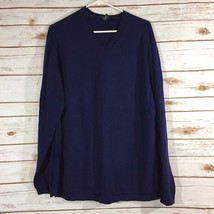 Alfani Navy Blue V-Neck Thin Sweater Size XL 100% PIMA RR - $27.08