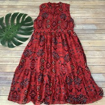 Modcloth High Neckline Midi Dress Size XL Red Blue Floral Sleeveless Tiered - $33.65