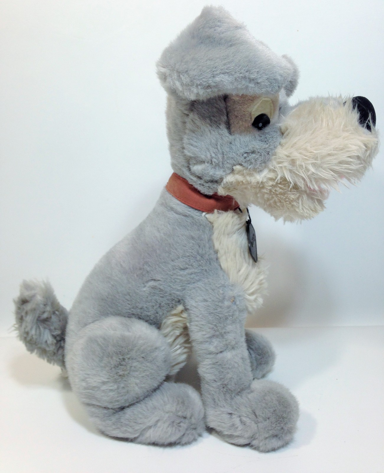 "Vintage Disney Tramp Plush Dog Grey Stuffed Animal Metal DogTag 14"" image 5"