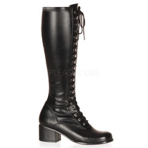 "FUNTASMA Retro-302 Series 2"" Heel Knee-High Boots - Black Str Pu - $59.95"