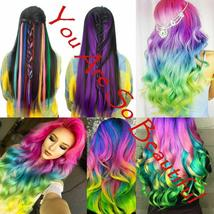 Long Natural Hair Clip In Rainbow Hair Extensions image 2