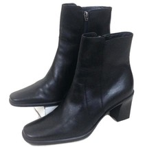 COLE HAAN Women's Black Leather Ankle Boots Side Zip Size 8 1/2 - $24.16