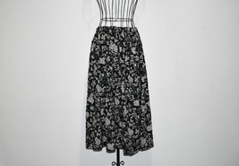 1980 Vintage Black and White Skirt with Elasticated Waist Size UK 16 - $18.88