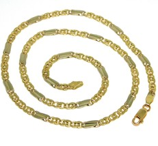 18K YELLOW WHITE GOLD CHAIN, TIGER EYE AND ONDULATE PLATE, 20 INCHES, ITALY MADE image 1