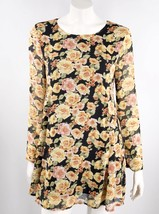 Forever 21 Dress Size Large Floral Black Yellow Long Sleeve Flowy Womens - $12.67