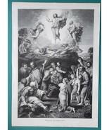 "CHRIST TRANSFIGURATION after Raphael Santi - VICTORIAN Era Print 14.5"" x... - $20.16"