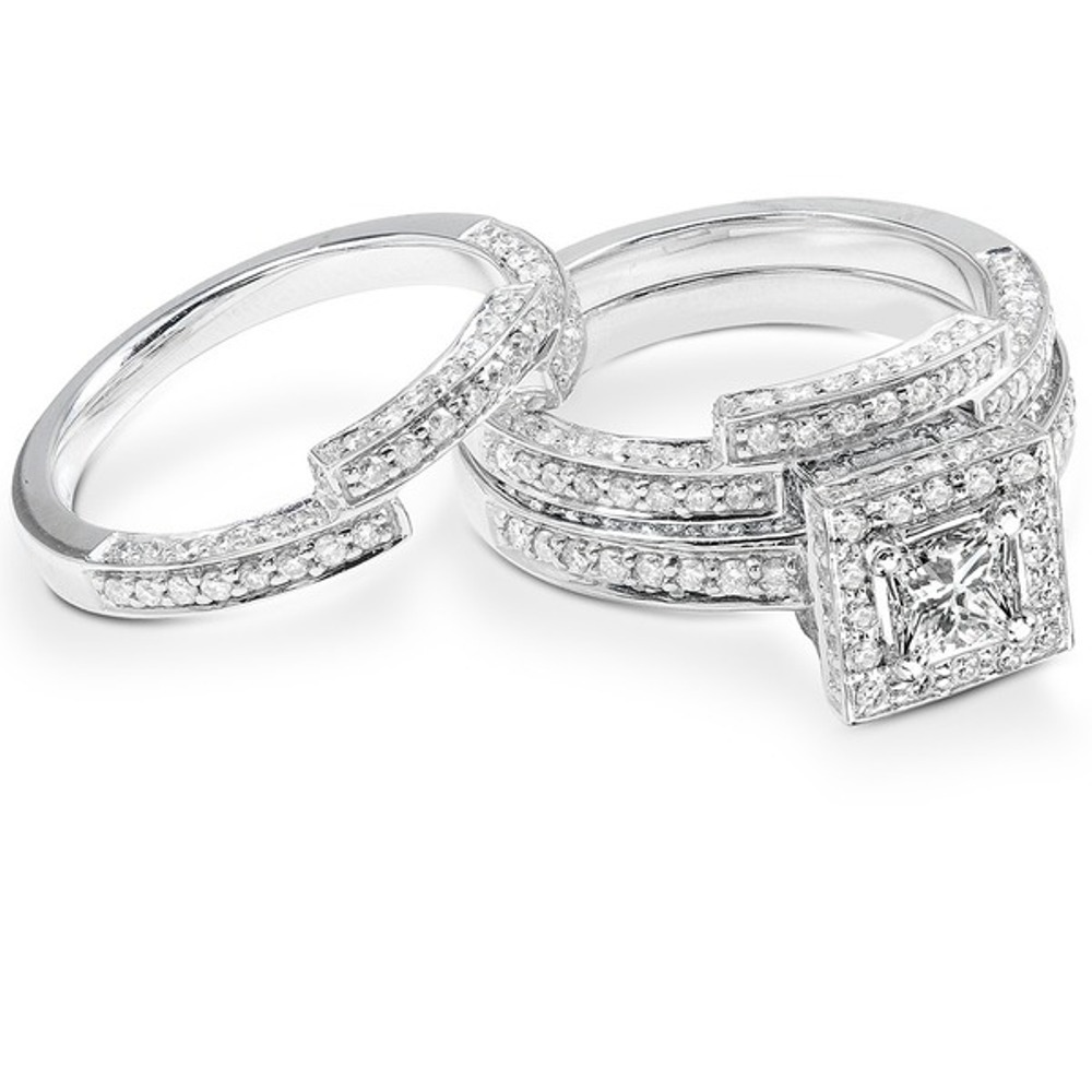 Primary image for Princess Cut White CZ Women's Engagement Trio Ring Set White Gold Fn. 925 Silver