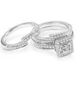 Princess Cut White CZ Women's Engagement Trio Ring Set White Gold Fn. 92... - $126.50