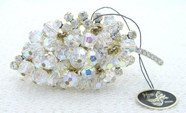 VTG JULIANA D&E Gold Tone Clear Rhinestone Dangle Crystal Leaf Pin Brooch - $148.50