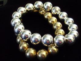 2 Bracelets SILVER GOLD Tone Balls Beads Chain Stretch Elegant Classics ... - $13.81