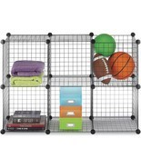 6-Cube Storage Shelves Closet Organizer Stackable Rack Metal Grid Wire B... - €27,25 EUR