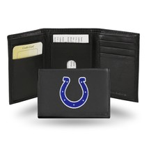Indianapolis Colts Wallet Embroidered Trifold Official NFL RICO Leather Black - $33.45