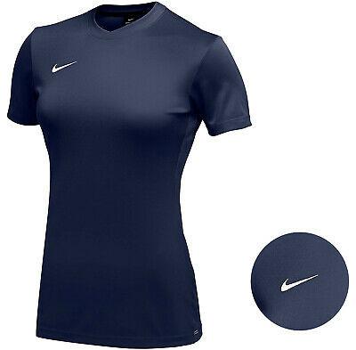 Nike Women's Navy Dri Fit Logo Crew Neck Short Sleeve Park VI Jersey - Large