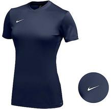 Nike Women's Navy Dri Fit Logo Crew Neck Short Sleeve Park VI Jersey - Large image 1
