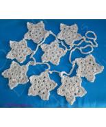 Crochet Off White Star Garland Christmas Ornaments Acrylic White Silver ... - $19.99