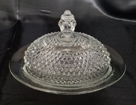 Vintage Indiana Glass Clear Oval Covered Diamond Point Butter Dish (circ... - $22.50