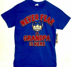 "Gildan Men's ""Never Fear, Grandpa Is Here!"" Sm Blue Graphic Cotton T-Shi... - $6.97"