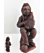 Musician Playing Banjo Red Clay Figurine - $18.69