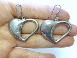 Chapal Zenray NF Open PUFFY HEART Sterling Silver Dangling Earrings VINTAGE - $39.99
