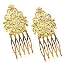 3 Pcs Gold Tone Metal Side Comb Dunhuang Hair Ornaments Hairpin Decorative Brida