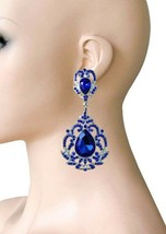 "3.5"" Long Victorian Vintage Inspired Royal Blue Crystal Evening Clip On Earrings - $20.90"